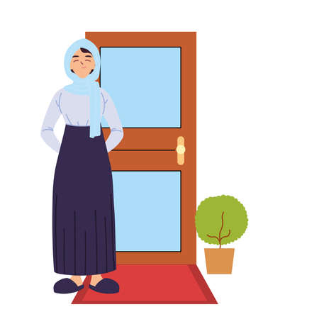 arabic woman cartoon in front of door design, Girl female person people human and social media theme Vector illustration
