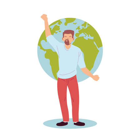 Man cartoon in front of world design, Manifestation protest and demonstration theme Vector illustration