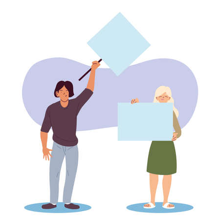 Woman and man cartoons holding banners boards design, Manifestation protest and demonstration theme Vector illustration