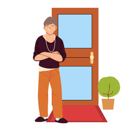 american man cartoon in front of door design, Male person people human social media and portrait theme Vector illustration