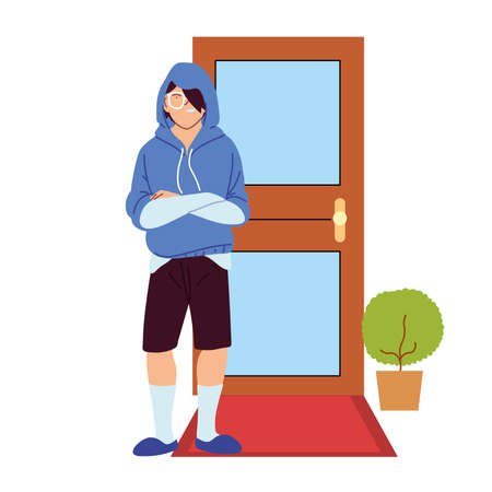 asian man cartoon in front of door design, Male person people human social media and portrait theme Vector illustration