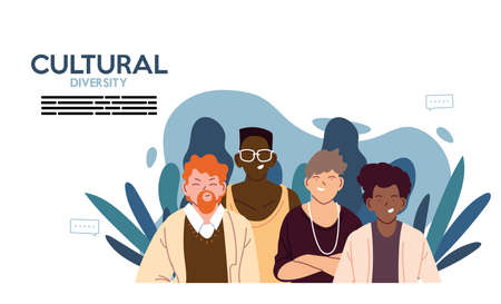 Men cartoons with leaves design, Cultural and friendship diversity theme Vector illustration