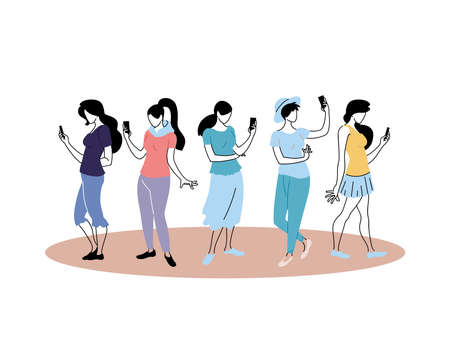Young women checking the cell phone vector illustration design