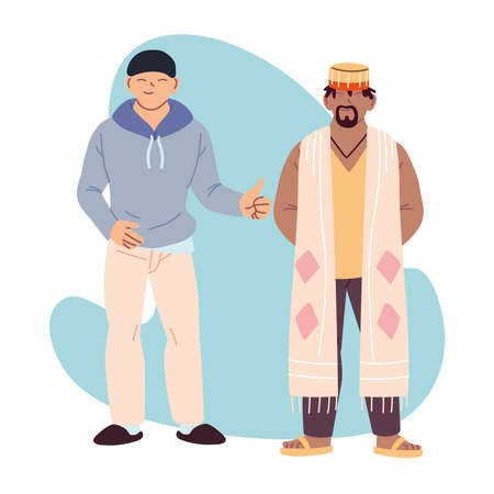 african and asian men cartoons design, Cultural and friendship diversity theme Vector illustration