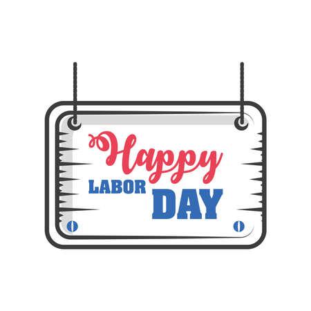 label happy labor day celebration on white background vector illustration design