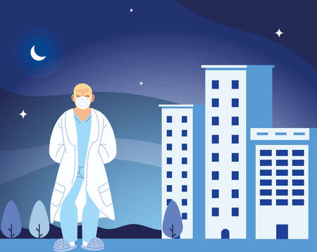 man doctor with mask in front of hospital building design of medical care and covid 19 virus theme Vector illustration