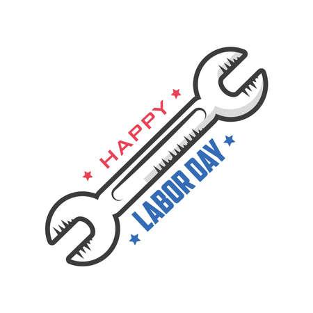 happy labor day celebration, wrench vector illustration design