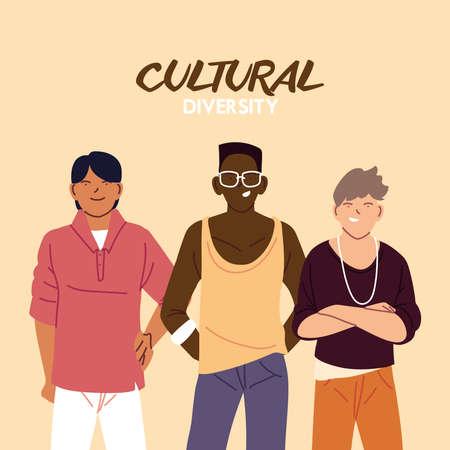 Men cartoons design, Cultural and friendship diversity theme Vector illustration