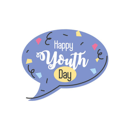 happy youth day with speech bubble vector illustration design