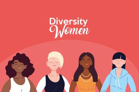 Women cartoons design, Cultural and friendship diversity theme Vector illustration Vektoros illusztráció
