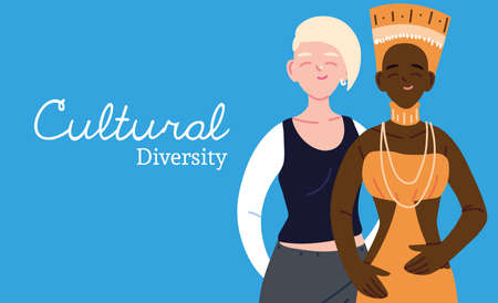 african and european women cartoons design, Cultural and friendship diversity theme Vector illustration