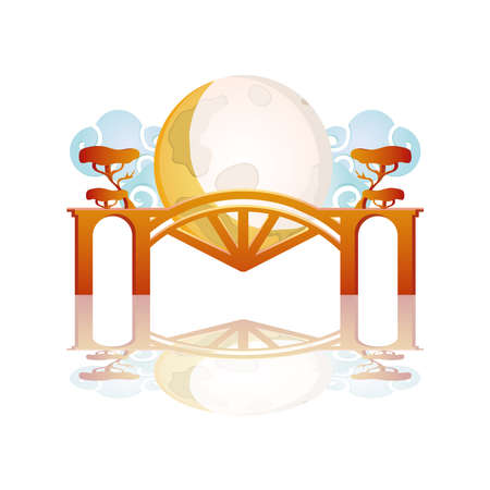 happy mid autumn festival card with castle and moon vector illustration design