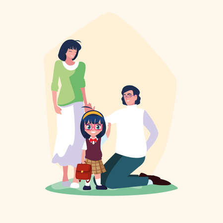cute little student girl and schoolbag with parents vector illustration design