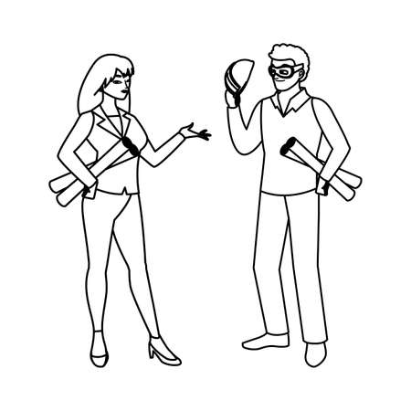female builder constructor worker with architect boss vector illustration design