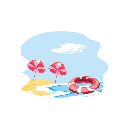 float protection summer in the beach with umbrellas vector illustration design