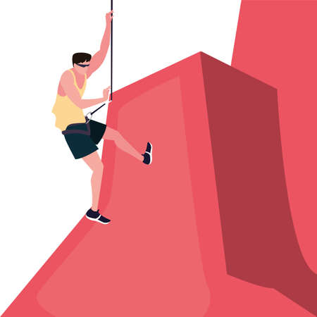 man climbing with rope extreme sport and lifestyle vector illustration
