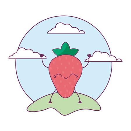 strawberry fruit kawaii in landscape vector illustration design