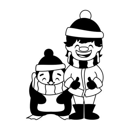 boy and penguin with hat and scarf in white background vector illustration design