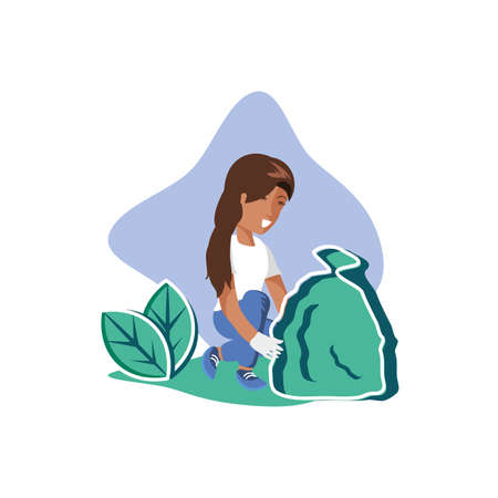 Avatar woman with trash design, Garbage recycle ecology eco save and environment theme Vector illustration Illustration