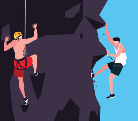 men athlete practicing climbing character vector illustration design