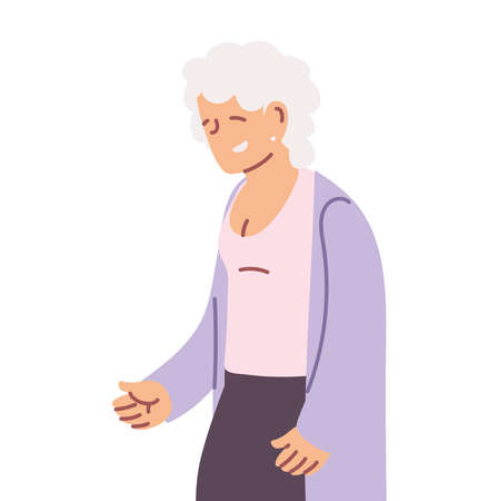 grandmother old woman smiling cartoon vector illustration design