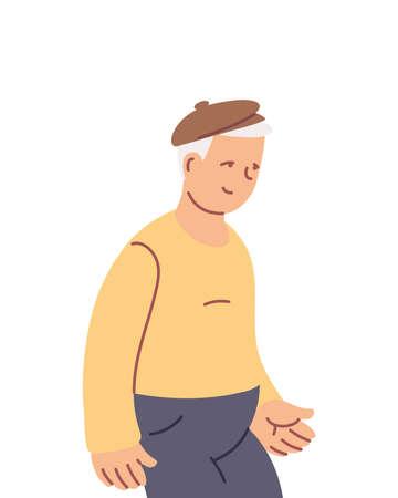grandfather old man smiling cartoon vector illustration design