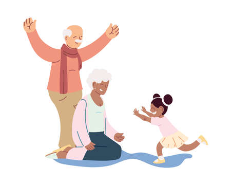 grandparents and granddaughter together smiling vector illustration design