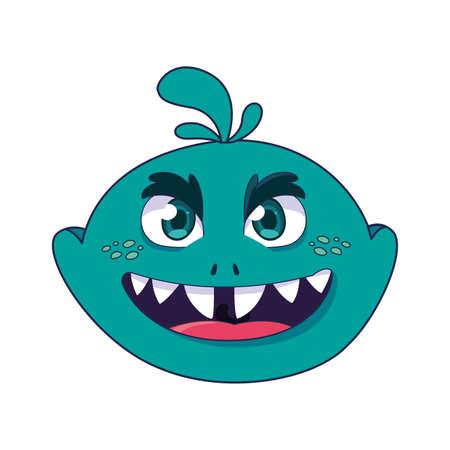 funny monster comic character avatar vector illustration design