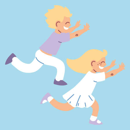 boy and girl play racing vector illustration design
