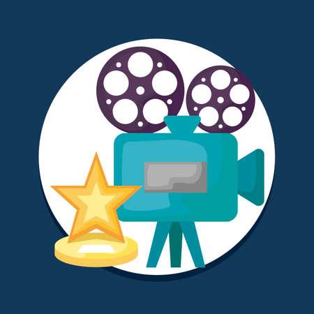 cinema camera video with star vector illustration design