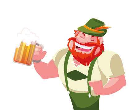 man with beer glass in hand in white background vector illustration design