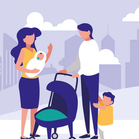 Parents with kids, Family relationship avatar generation and lifestyle Colorful design Vector illustration