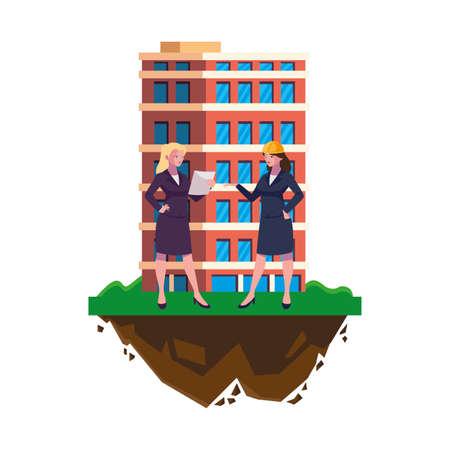 female engineers builders workers with building vector illustration design Ilustración de vector