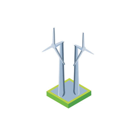renewable energy turbine on white background vector illustration design