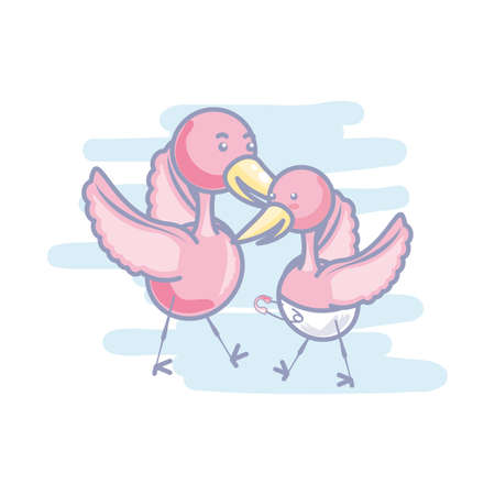cute storks animals with diaper vector illustration design Vetores