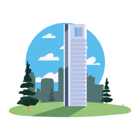 city skyline urban buildings city scene vector illustration