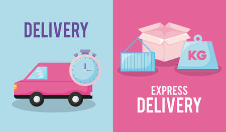delivery service with van car and set icons vector illustration design