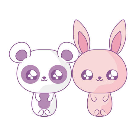 cute rabbit with panda bear baby animals kawaii style vector illustration design