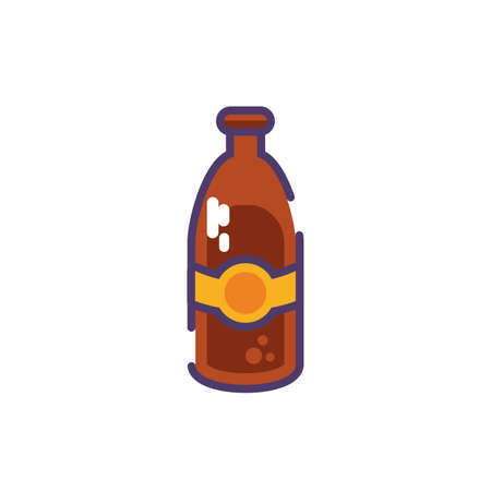 bottle of beer in white background vector illustration design