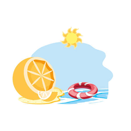 float protection summer in the beach with orange vector illustration design