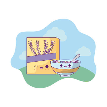 box with dish of cereal in landscape kawaii style vector illustration design