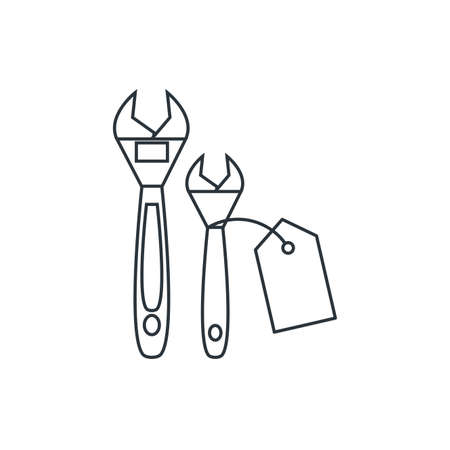 wrench tool with price tag hanging vector illustration design