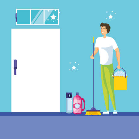 housekeeping worker avatar character vector illustration design