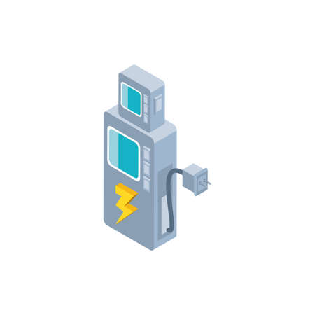electric charging station for cars on white background vector illustration design
