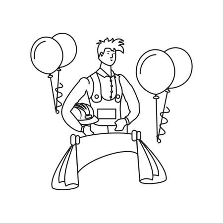 builder worker with balloons helium labor day celebration vector illustration design