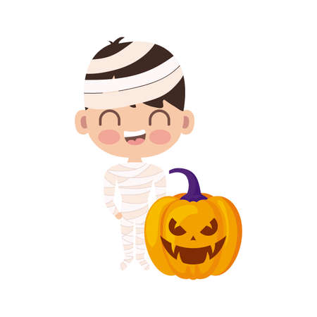 cute boy disguised of mummy on white background vector illustration design