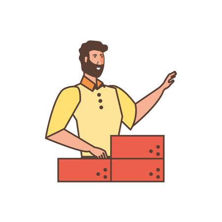 worker construction man with bricks vector illustration design