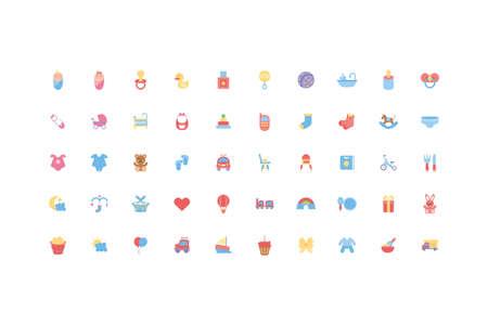 baby objects and toys icon set design, Child newborn childhood innocence and little theme Vector illustration Vektorgrafik