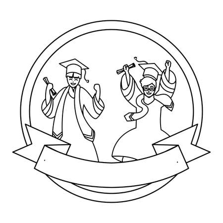 happy students boys graduated celebrating in circular frame vector illustration