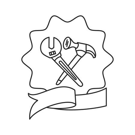 wrench key with hammer and ribbon vector illustration design